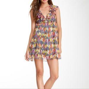 Gracia Ruffled Bird Print 100% Silk Mini Dress